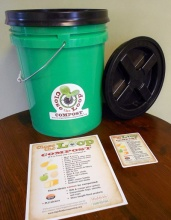 The five-gallon bucket and informational material that each program participant received.